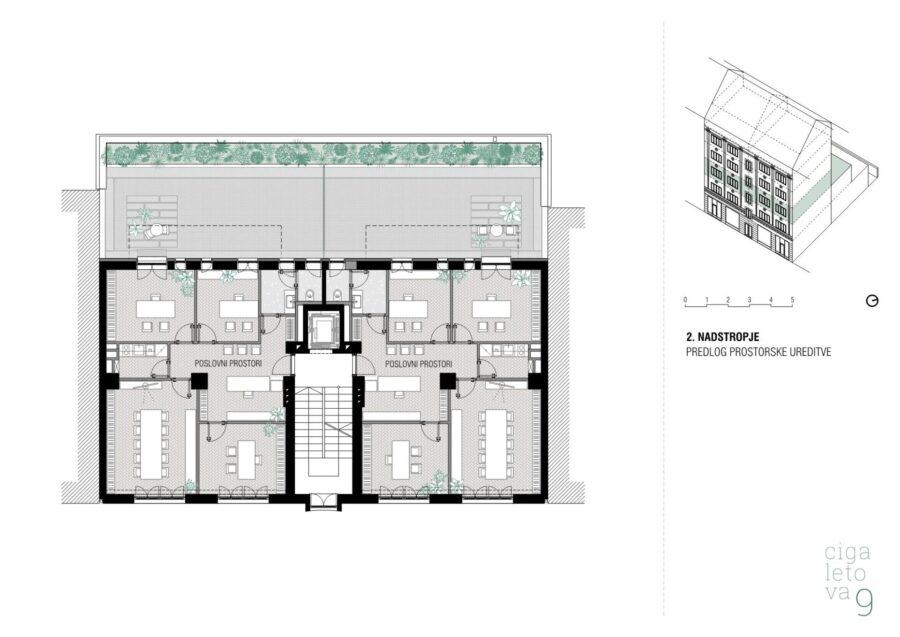 Poslovna stavba Cigaletova - pisarne in trgovina